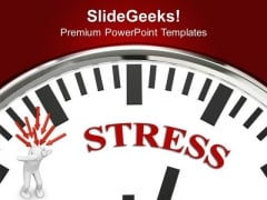 White Clock With Stress Business PowerPoint Templates Ppt Backgrounds For Slides 0113