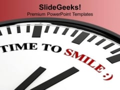 White Clock With Time To Smile Festival PowerPoint Templates Ppt Backgrounds For Slides 1112