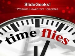 White Clock With Word Time Flies PowerPoint Templates And PowerPoint Themes 1012