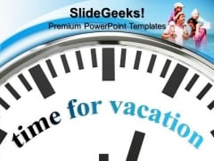 White Clock With Word Time For Vacation PowerPoint Templates And PowerPoint Themes 1012