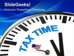 White Clock With Words Tax Time PowerPoint Templates Ppt Backgrounds For Slides 0313