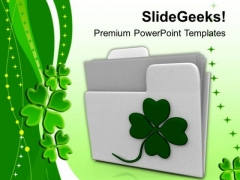 White Folder Icon With Irish Clover PowerPoint Templates Ppt Backgrounds For Slides 0313
