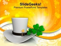 White Hat With Shamrock Festival PowerPoint Templates Ppt Backgrounds For Slides 0213