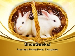 White Rabbits In Basket Easter Festival PowerPoint Themes And PowerPoint Slides 0411