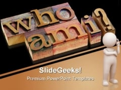 Who Am I Question Shapes PowerPoint Themes And PowerPoint Slides 0511