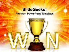 Win Trophy The Award Or Prize Winner Competition PowerPoint Templates And PowerPoint Themes 1112