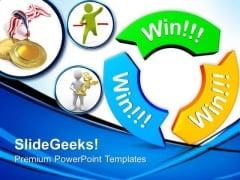 Win Win Win On Circular Arrows Business PowerPoint Templates And PowerPoint Themes 0812