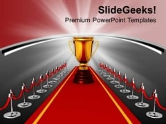 Winner Achieved The Golden Trophy As Award PowerPoint Templates Ppt Backgrounds For Slides 0313