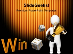 Winner Holding Golden Trophy Competition PowerPoint Templates And PowerPoint Themes 1112