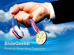 Winner Holding Prize Business PowerPoint Themes And PowerPoint Slides 0411