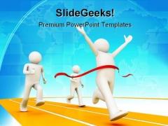 Winner On Finishing Line Business PowerPoint Template 1010