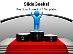 Winner On Podium Competition PowerPoint Templates Ppt Backgrounds For Slides 1212