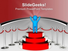 Winner Standing On Podium Competition PowerPoint Templates Ppt Backgrounds For Slides 0313