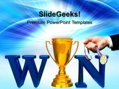 Winner Trophy With Medal Success PowerPoint Templates And PowerPoint Themes 0712