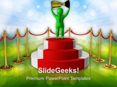 Winner With Golden Cup PowerPoint Templates Ppt Backgrounds For Slides 0713