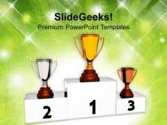 Winners Trophy On Podium Competition PowerPoint Templates Ppt Background For Slides 1112
