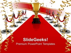 Winning Trophy On Red Carpet PowerPoint Templates And PowerPoint Themes 0912