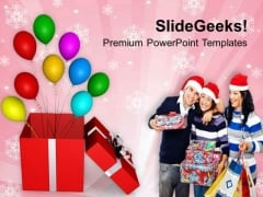 Wishing Merry Christmas With Gifts And Balloons PowerPoint Templates Ppt Backgrounds For Slides 1112
