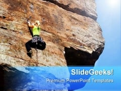Woman Climbing Rock Vacation PowerPoint Themes And PowerPoint Slides 0811