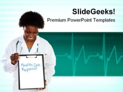 Woman Doctor Health PowerPoint Templates And PowerPoint Backgrounds 0911