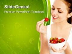 Woman Eating Strawberries Health PowerPoint Themes And PowerPoint Slides 0811