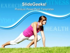 Woman Fitness And Stretching Health PowerPoint Themes And PowerPoint Slides 0411