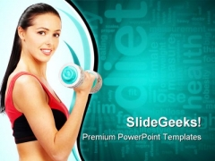 Woman Fitness Health PowerPoint Themes And PowerPoint Slides 0911