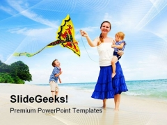 Woman Flying Kite With Children Beach PowerPoint Templates And PowerPoint Backgrounds 0311