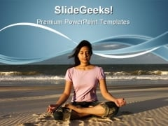 Woman Meditating Beach PowerPoint Templates And PowerPoint Backgrounds 0611