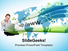Woman On Laptop Internet PowerPoint Themes And PowerPoint Slides 0811