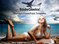 Woman On The Beach Beauty PowerPoint Template 0810