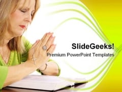 Woman Praying Bible Religion PowerPoint Templates And PowerPoint Backgrounds 0211
