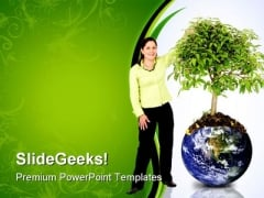 Woman Protecting The Planet Global PowerPoint Themes And PowerPoint Slides 0711