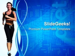 Woman Running Health PowerPoint Themes And PowerPoint Slides 0811
