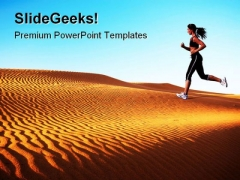 Woman Running On Desert Health PowerPoint Templates And PowerPoint Backgrounds 0811