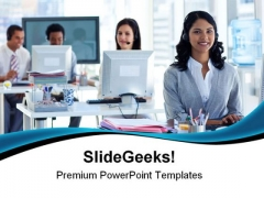 Woman With A Headset Business PowerPoint Themes And PowerPoint Slides 0511
