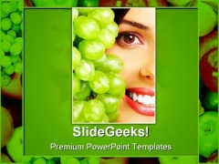 Woman With Fruits Health PowerPoint Templates And PowerPoint Backgrounds 0811