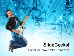 Woman With Guitar Music PowerPoint Templates And PowerPoint Backgrounds 0811