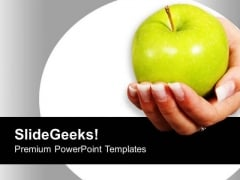 Women Holding Apple Education Health PowerPoint Templates Ppt Backgrounds For Slides 0213