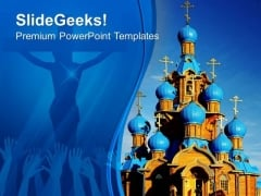 Wooden Church With Blue Domes People PowerPoint Templates And PowerPoint Themes 0712
