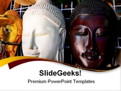 Wooden Mask Of Buddha Religion PowerPoint Themes And PowerPoint Slides 0511