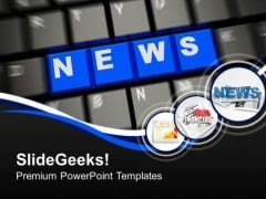Word News On Keyboard PowerPoint Templates Ppt Backgrounds For Slides 0113