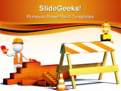 Work Under Construction PowerPoint Themes And PowerPoint Slides 0811