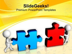 Working Together To Combine Puzzles PowerPoint Templates Ppt Backgrounds For Slides 0413