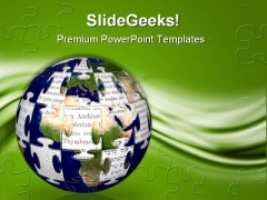World Puzzle Globe PowerPoint Themes And PowerPoint Slides 0911