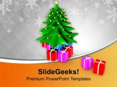Xmas Tree With Colored Gifts PowerPoint Templates Ppt Backgrounds For Slides 0113