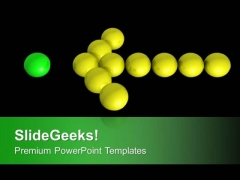 Yellow Christmas Balls Forming Arrow PowerPoint Templates Ppt Backgrounds For Slides 0213
