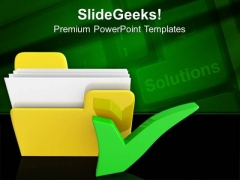 Yellow Computer Folder With Tick Mark PowerPoint Templates And PowerPoint Themes 0912