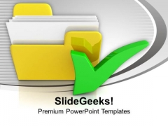 Yellow Computer Folder With Tick Mark PowerPoint Templates Ppt Backgrounds For Slides 1212