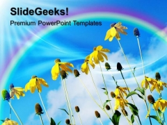 Yellow Flowers With Rainbow Nature PowerPoint Templates And PowerPoint Themes 0512